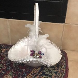 Flower Girl Basket with Faux Flower Petals